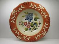 La Toscana by Certified Serving Bowl Pgladding Rust Rim Embossed Floral Center