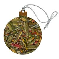 Oodles of Fish Fishing Salmon Trout Wood Christmas Tree Holiday Ornament