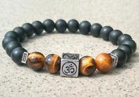 8mm obsidian Tiger's Bracelet Stretchy Healing Bead Lucky Unisex pray Meditation