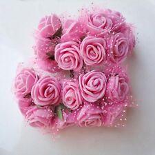 2.5CM 144Pcs Mini Silk PE Rose Foam Flower Bouquet Tulle Wedding Party Decor