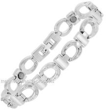 LADIES MAGNETIC HEALING BRACELET SILVER BANGLE ARTHRITIS PAIN RELIEF 176