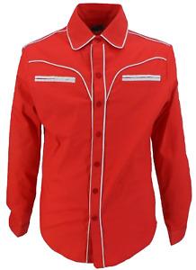 Mazeys Mens Red Western Cowboy Vintage/Retro Shirts
