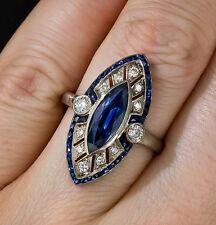 Certified Art Deco Blue Marquise Sapphire Diamond Wedding Engagement Ring