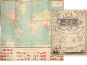 RARE Hammond's Map of the World 1930s Nations Flags German Reich C.S. HAMMOND