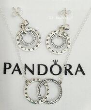 Pandora Genuine Circles Logo Necklace + Stud Drop Dangle Earrings Giftset S925 A