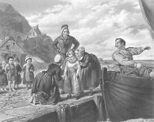 FIRST TIME SON GOES TO SEA w FISHERMAN SAILOR DAD ~ Old 1872 Art Print Engraving