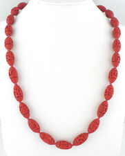 * CHINA - ANTIQUE VINTAGE CHINESE CARVED CINNABAR OBLONG BEADS NECKLACE