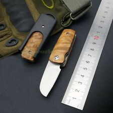 Mini Pocket Folding Knife 440 Steel Blade Wooden Handle Outdoor EDC Tool Y-ST14C