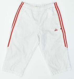 ADIDAS Mens Capri Tracksuit Trousers Small White Polyester Loose Fit LY01