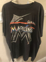 Miami Marlins Baseball Gray Shirt XL Old Logo Majestic Triple Peak Extra Large