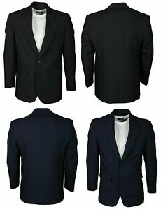 Mens Blazer Oxford Formal Party Office Casual Long Sleeve in Black Navy Colours