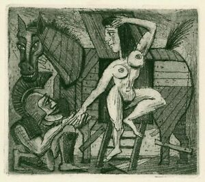 """Gantz, Dieter (1932 Reideburg – 2018 Berlin)  """"Trojanisches Pferd""""  Radierung"""