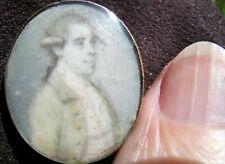 "Fine Tiny Antique Portrait Miniature J Meyer ? 14K Gold Frame Bracelet Brooch 1"""