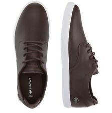 Lacoste Men Shoes Esparre BL 1 Brown White Leather Casual Sneakers NEW