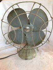 """Vintage Gray Sterling 11"""" Oscillating Adjustable Metal Fan Chicago USA Works"""