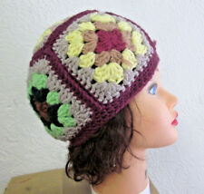 OLD-TIMEY BABY multi-colored knit hat 1970s flowers Gypsy sexy neo-folk hippy
