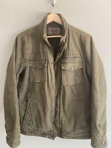 Levis Mens Medium Insulated Cotton Military Jacket Work Coat Pockets Full Zip