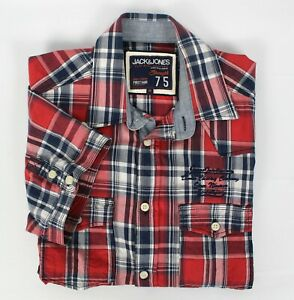 JACK & JONES Mens Casual Shirt Red Check Button Up Short Sleeve Cotton Size M