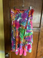 Ralph Lauren  8 Colorful Lined A-line Skirt Silky Floral Gorgeous!