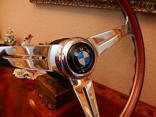 "BMW E10  1600 1800 Wood Steering Wheel NARDI 15.3"" BMW Horn Button BMW HUB BOSS"