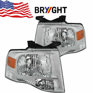 For 2007-2014 Ford Expedition Headlights 07-14 Replacement Headlamps Pair