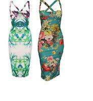 Women's Ladies Strappy Bodycon Multi Colour Floral Print Midi Party Dress 8-14