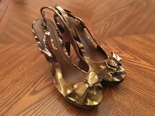 New ANNE MICHELLE Multicolor Satin High Heel Platform Stiletto Sandals Size 7.5M