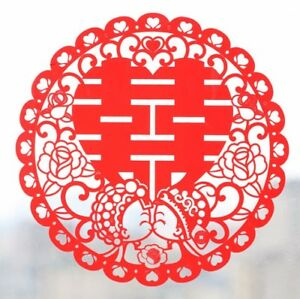 """Chinese Wedding Double Happiness Sticker. 12""""x12"""" Red Color"""