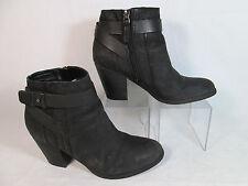 Franco Sarto DOTTY Distressed Leather Fashion Ankle Boots Flat Black Sz 5-M