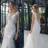 V Neck Lace Appliques Tulle Mermaid Wedding Dress V Backless Beach Bridal Gowns