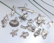 12 UNDER THE SEA Tibetan Silver Charm Collection Set Lot Beach Marine Fish Shell