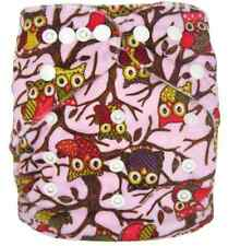 Modern Reusable Washable Baby Cloth Nappy Nappies & Insert, Minky Pink Owls