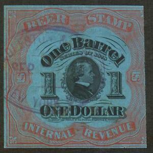 REA42f REVENUE Beer Stamp $1 Red DARK BLUE PAPER Crease $100 SEE PHOTOS BK-79