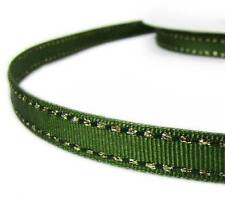 "2 Yds Metallic Gold Side Saddle Stitched Dark Green Grosgrain Ribbon 3/8""W"