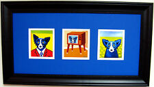 "GEORGE RODRIGUE BLUE DOG NOTE CARDS - FRAMED -  23"" x 13"""