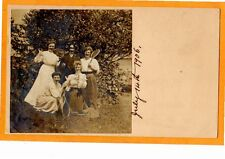 Real Photo Postcard RPPC Female Tennis Players with Cat & Man as Woman Gay Int