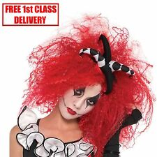 Cool Clown Red Crimped Wig Hair Style Jesterina Harley Quinn Halloween Jester BN