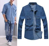 Mens Jeans Demin Casual Shirts Loose Fit Shirt Long Sleeve Cotton Casual Shirts