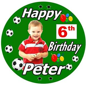 PERSONALISED FOOTBALL BIRTHDAY BADGE, AGE, NAME, COLOURS & PHOTO / NEW / GIFTS