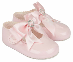Baby girl shoes soft pram BAYPODS diamante BOW Spanish christening wedding
