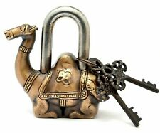 Antique Style Camel Type Padlock Lock With Key Brass Made