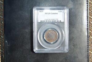 1835 1/2C, Classic Head Half Cent, PCGS Graded Genuine (color)