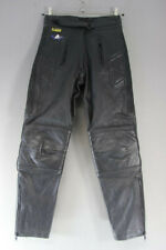 AKITO BLACK LEATHER BIKER TROUSERS SIZE 12: WAIST 30 INCHES/INSIDE LEG 28 INCHES