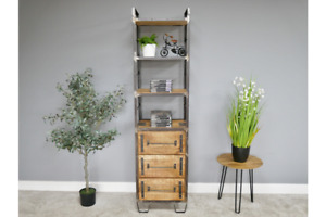 Industrial Tall Wood & Metal Bookcase / Storage Unit with Drawers