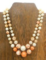 "Vintage Multi Strand Japan Faux Pearl Coral Bead Gold Tone Choker 18"" Necklace"