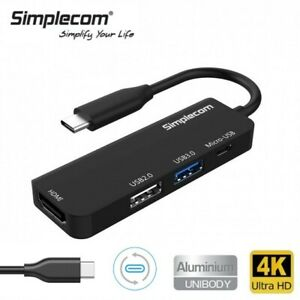 Simplecom USB-C Type-C 3.1 to HDMI 4K UHD Video 4 in 1 Hub USB 3.0 For PC Laptop