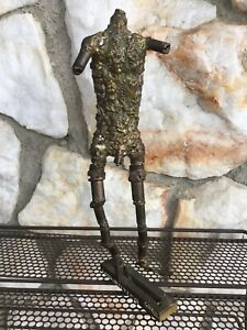 Vintage Male Man Nude Brutalist Metal Sculpture Figure Gay Interest Art Risqué