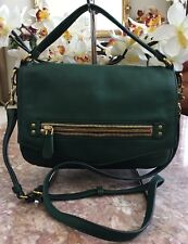 NWT J. CREW Green Leather Hobo Convertible Cross-body Front Gold Zipper Bag $245