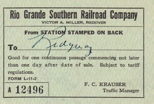 1940 Rio Grande Southern-RGS-Ticket for trip Telluride to Ridgway-On3,Sn3,HOn3