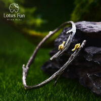 Handmade Solid 925 Silver Jewelry 18K Yellow Gold Bird Vintage Bangle for Women